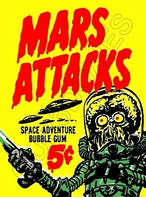 1962 Topps Mars Attacks Store Counter Standup Sign Repro Wax Wrapper