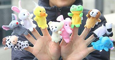 Cute 10pcs Zoo Farm Animal Plush Hand Puppets Finger Soft Toy To Baby Kids 8C
