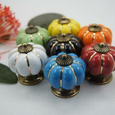 Retor Pumpkin Ceramic Door Knobs Cabinet Drawer Cupboard Kitchen Pull Handle 8C