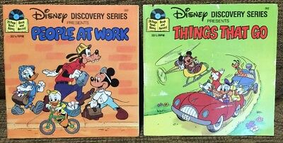 Walt Disney VTG Read Along Vinyl Record Book Discovery People At Work Things Go