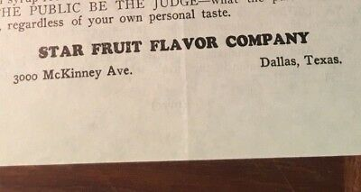 Star Fruit Flavor 1930s Banana Drink Concentrate Mixing Dallas Texas Papers