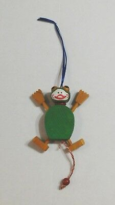 WOODEN FROG MARIONETTE Single-String All Hardwood Frog Puppet Toy FROGS