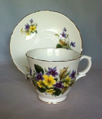 Crown Staffordshire England Teacup And Saucer Yellow And Purple Flowers