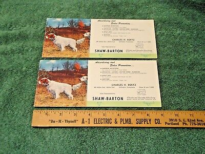 4 Irish Red & White Setters On Shaw-Barton Charles Bortz Shillington Pa Blotters