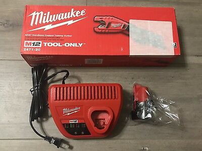New Milwaukee 2471-21 M12 12v Copper Tubing Cutter 2.0ah Battery Charger
