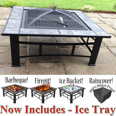 NEW 3 in 1 Outdoor Garden Fire Pit BBQ Brazier Square Tile Stove Patio Heater