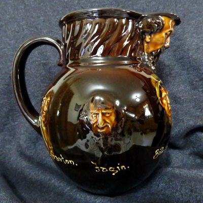 Rare & IMPRESSIVE Royal Doulton Kingsware Dickens Faces Whisky Water Jug Pitcher