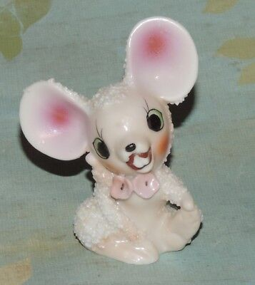 Vintage Retro Snow Baby Mouse Ceramic Figurine Big Ears Buck Teeth Japan 3""
