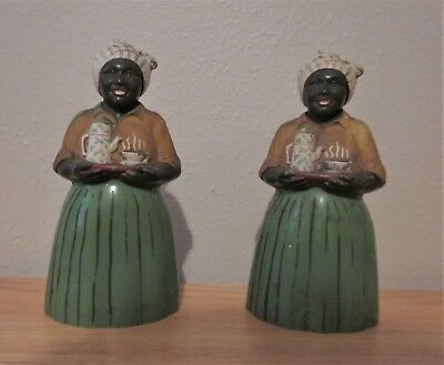 Authentic Luzianne Black Americana Mammy Salt And Pepper Shakers