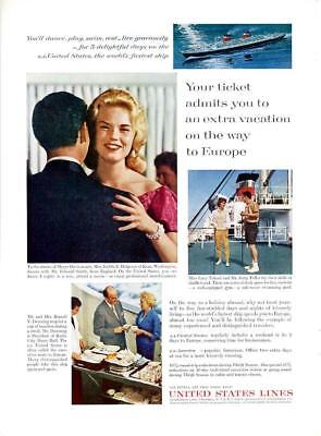 1962 United States Lines PRINT AD Features Various Travelers Play, Dance & Eat