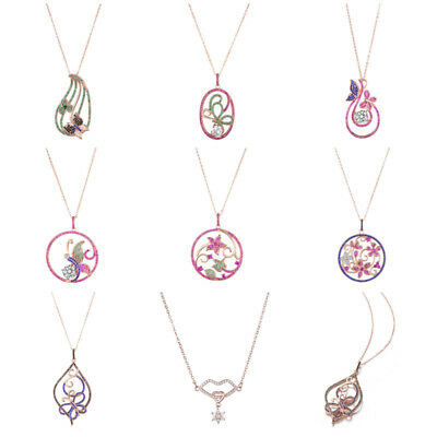 Women Pink Silver Precious Diamond Plated Necklace Butterfly Flower Chain Gift
