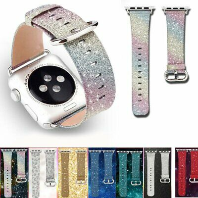 Glitter Bling Leather Watch Band Strap Buckle Wrist For Apple Watch 38/42mm