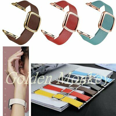 Genuine Leather Magnetic Closure Wrist Band Strap For Apple Watch iWatch 38 42