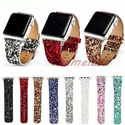Luxury Glittery Bling PU Leather band for Apple Watch strap Series 3 2 1 38 42mm