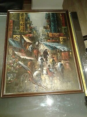 Vintage Chinese oil painting TANG PING impressionist street scene signed framed