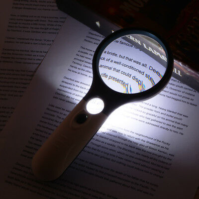 Magnifier 3X 45X Magnification Magnifying Reading Glass Lens LED Loupe FA322
