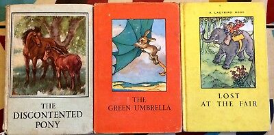 Bundle of 3 vintage Ladybird Books Green Umbrella Discontented Pony Lost at Fair