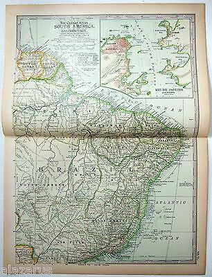 Original 1902 Map of Eastern South America by The Century Company. Brazil