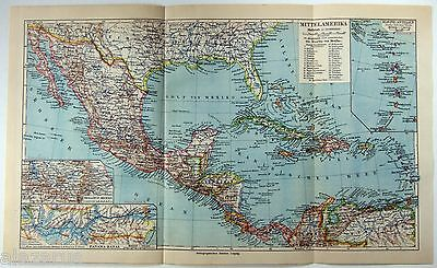 Original 1924 German Map of Central America by Meyers