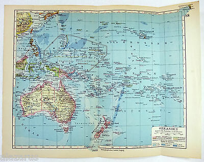 Original 1928 Map of The Pacific Islands Showing Their Former Colonies by Meyers
