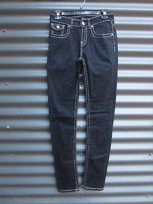 New London Men's Black Jeans With Silver Stitching Stretch Waist Label Size 26