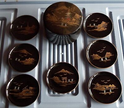Japanese Black Lacquer Round Box with 7 Coasters Mother-of-Pearl Inlay