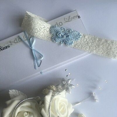 Wedding Garter Blue Butterfly with Swarovski Crystal Pearl S/M/Large/XLarge