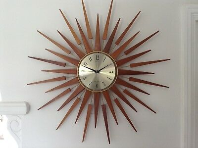 Huge Seth Thomas Vintage Retro Mid Century Modern Sunburst Starburst Wall Clock
