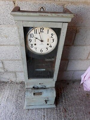 IBM international time recorder clocking in clock (clock side in working order)