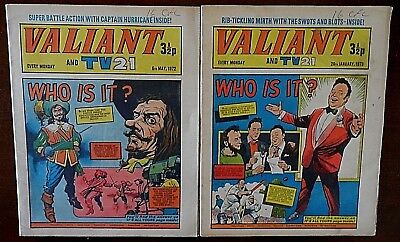 Valiant & TV21 Comics x 2, 6th May 1972 & 20th Jan 1973. Published by IPC Magazi