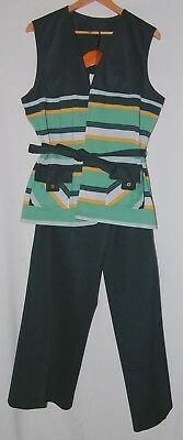 Vintage 70s Womens Plus Pants Suit Tank Forest Green Yellow Striped Poly Mod