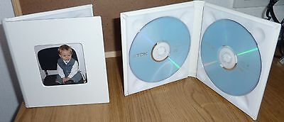 Prestige Ivory Double Faux Leather DVD Case Ideal For Weddings Discs and more