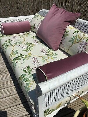 Vintage bergere sofa - painted & completely re- upholstered in Colefax & Fowler