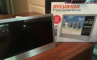 """Digital Photo Frame Sylvania 7"""" New In Box stainless steel Picture 16gb Memory C"""