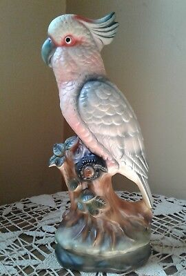 "Vintage  PARROT  Figurine Made in Japan Porcelain 10"" tall"