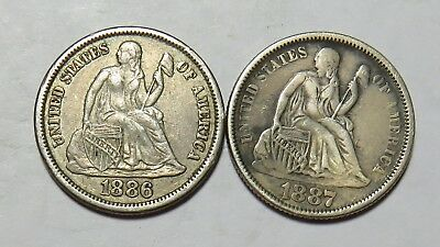 1886 And 1877 Seated Dimes Full Liberty