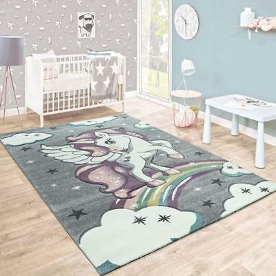 Childrens Nursery Rug Grey White Kids Unicorn Mat New Small Large Girls Playroom