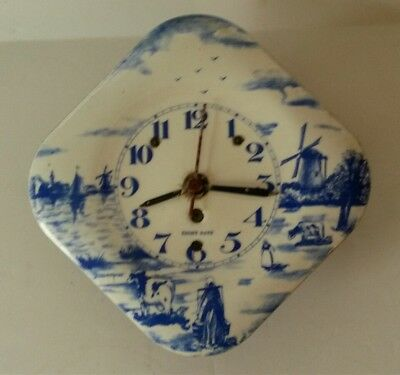 Antique Porcelain Enamel Delft Wall Clock 8 Day Germany For Parts Only