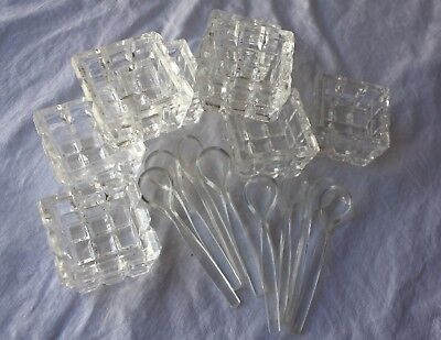 Cut Crystal Tub Bucket Open Salt Cellars - Vintage Clear Glass w Spoons Set of 8