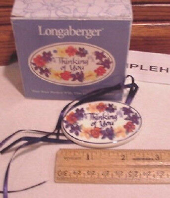 Longaberger Baskets Usa  Pottery Thinking Of You  Basket Tie On Mint In Box