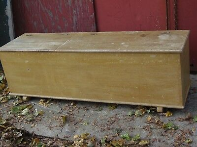 Antique Wood Chest Bench 2 lidded top Grain Painted Storage Trunk