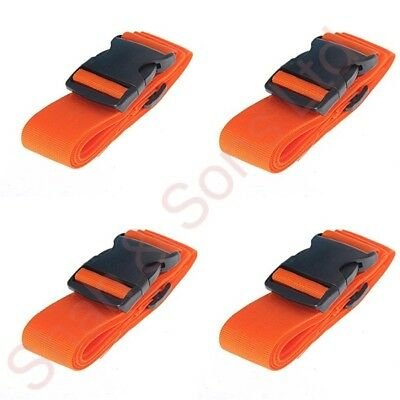 4 X Orange High Visible Adjustable Strong Safety Travel Suitcase Luggage Straps