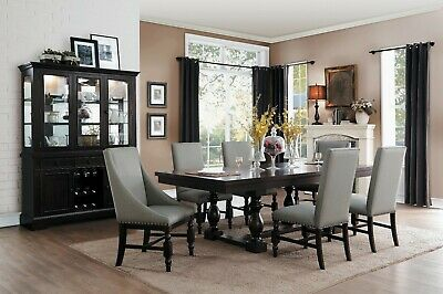 Formal Rustic Country Style 7 Pc Dining Table Tan Tufted Chairs Furniture Set