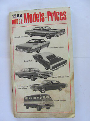 1969 Dodge Charger Coronet Polara Model and Prices Booklet Brochure