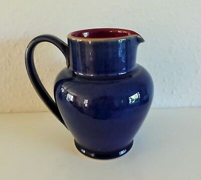 Denby 'classic' 1 Pint Jug Blue/red