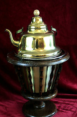 Antique Rare Rio Tea Pot with Bucket & Wooden Stand, Made in Holland