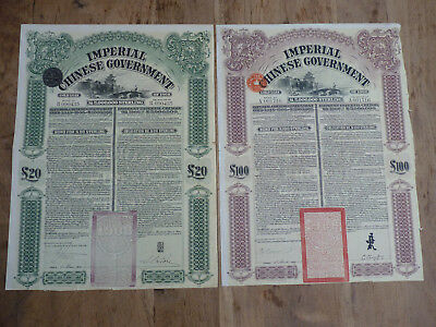 Imperial Chinese Government, Gold Loan of 1908, £ 20 &  £ 100 Sterling Bond