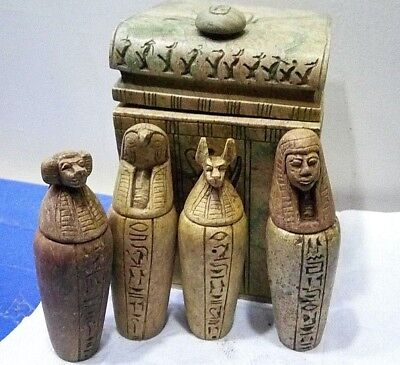 CANOPIC JARS ANCIENT EGYPTIAN ANTIQUE in Box 1300-1100 BC