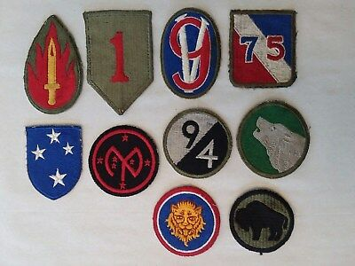 Vintage WWII US Military Patches lot of 10 US Army Infantry Patches