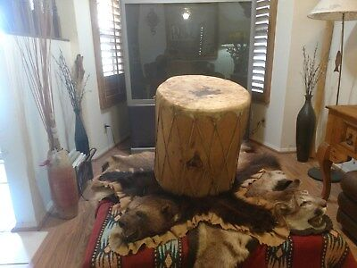 "native american vintage crafted 16"" round pine drum with tanned hide face ends."